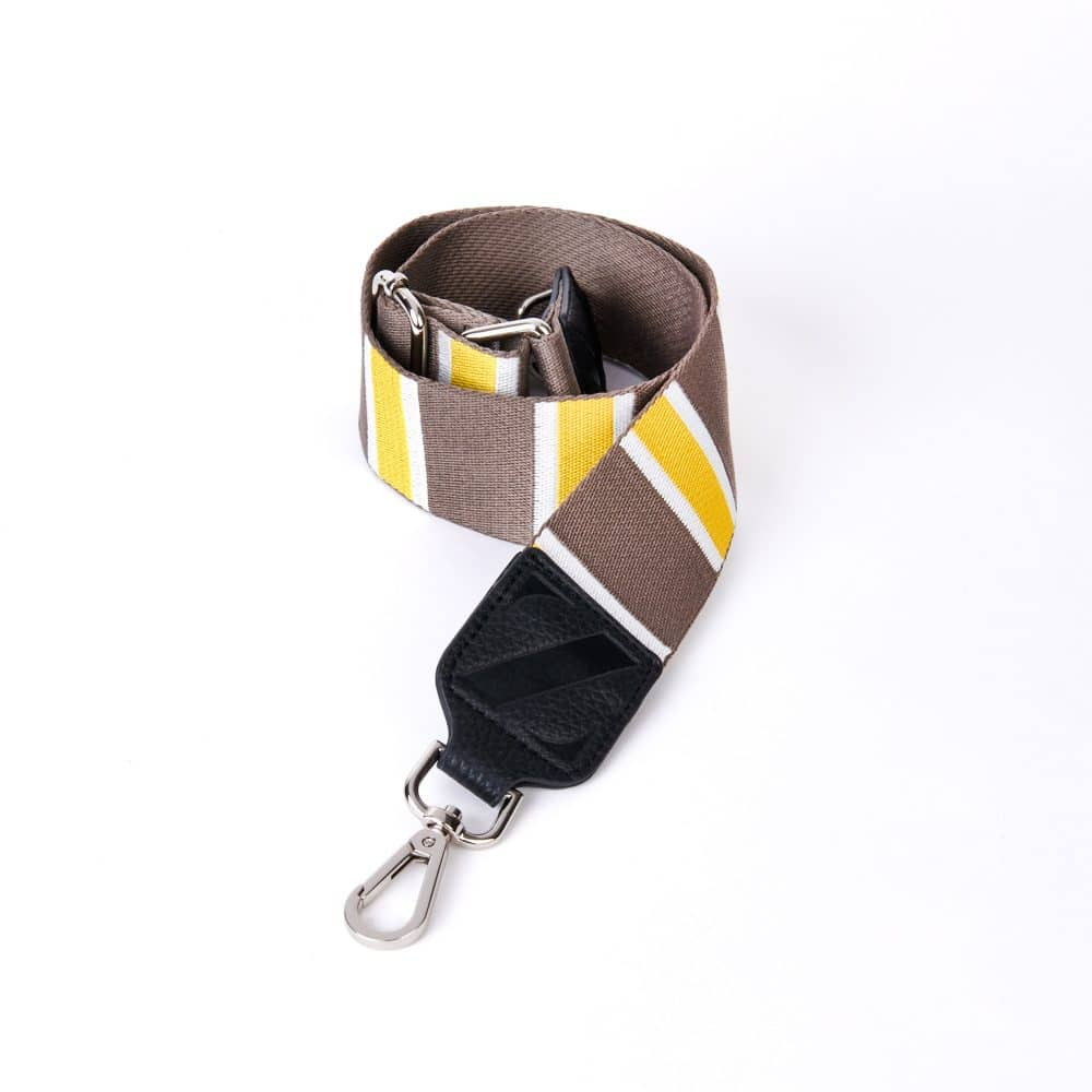 Wide Webbing Zellie Strap Yellow and Brown Stripes with Clips
