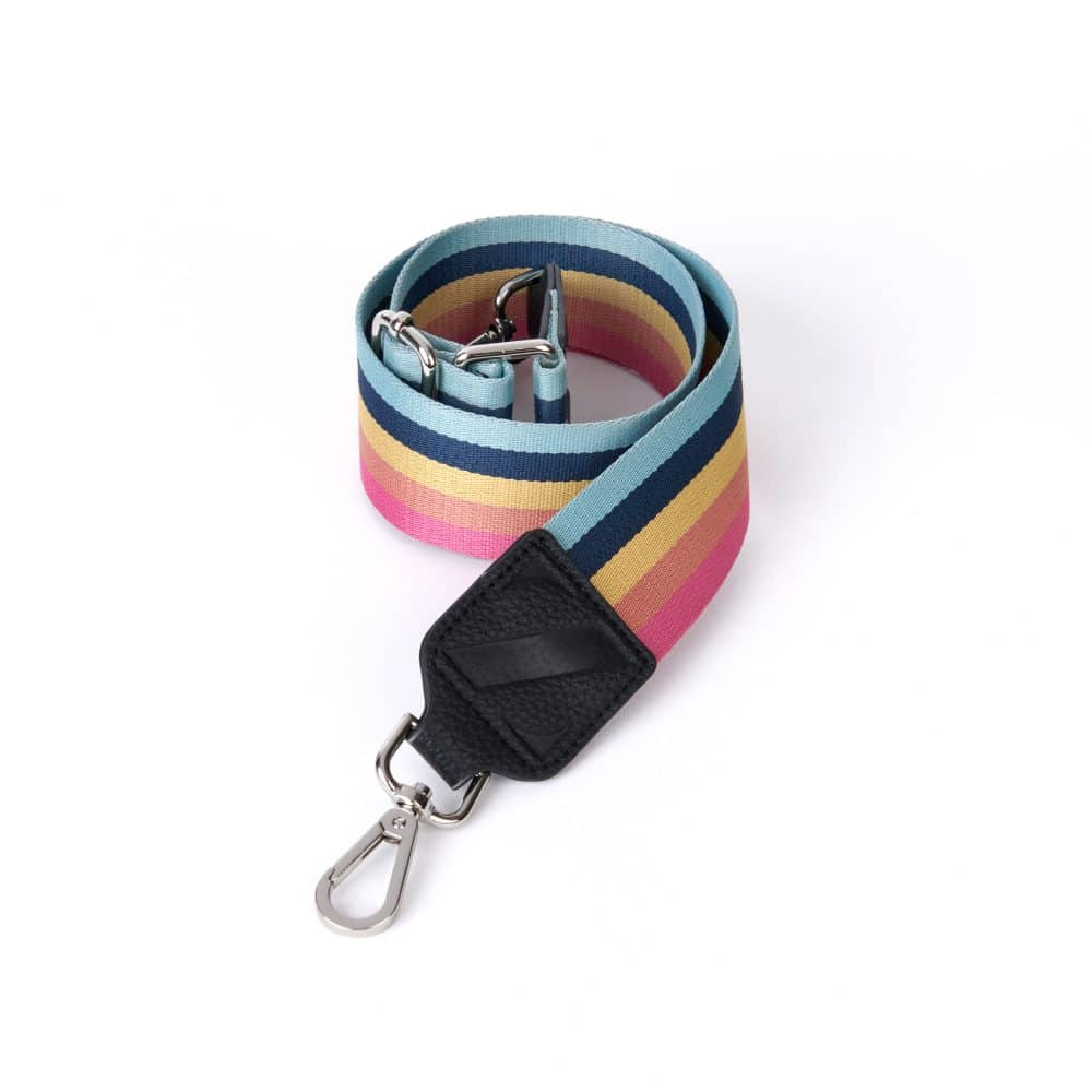 Wide Webbing Zellie Strap Rainbow Stripes with Clips