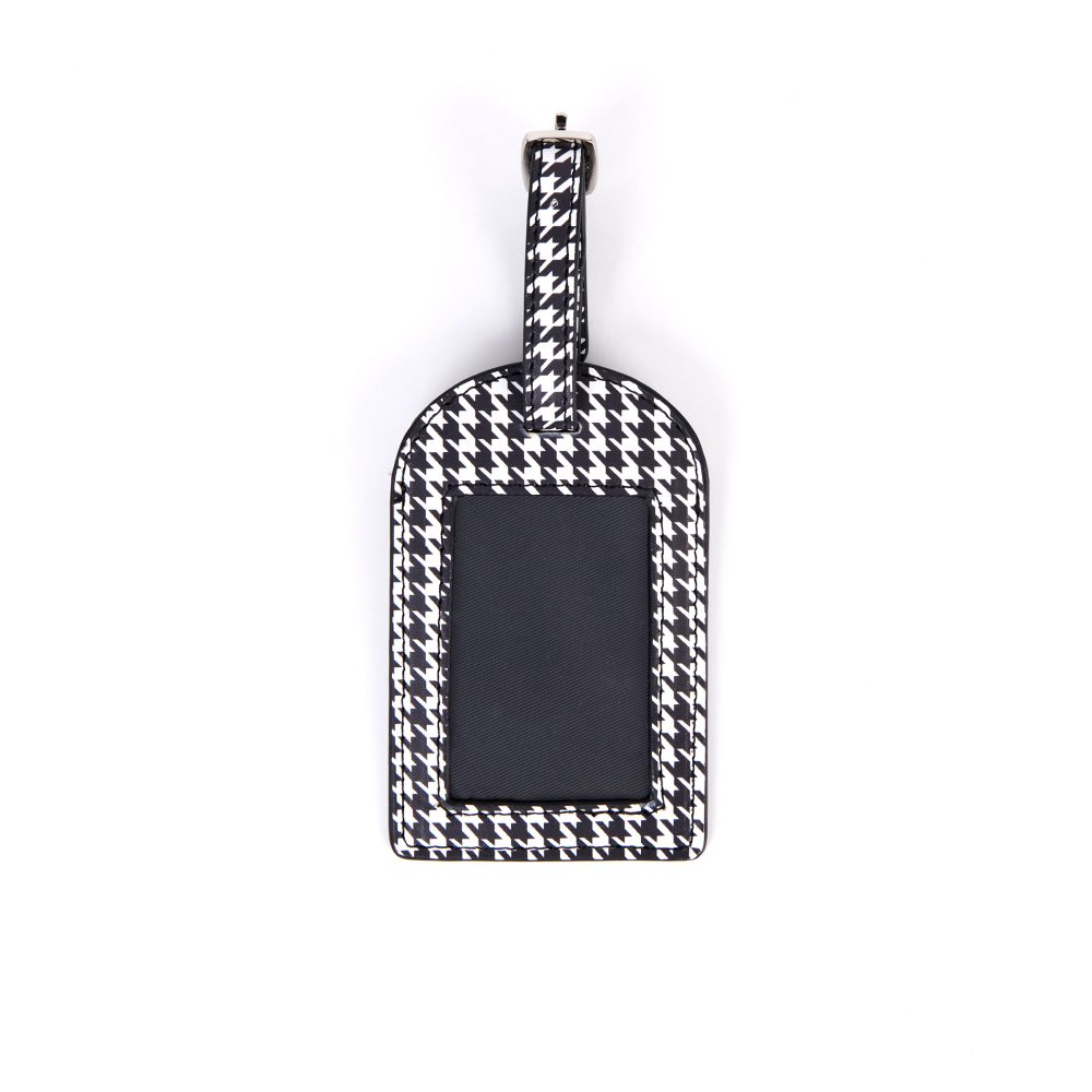 Front of Monochrome Dogtooth Luggage Tag